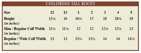 Jpc Tuff Rider Size Chart Logo Children S Tall Boots All Measurements Are In Inches